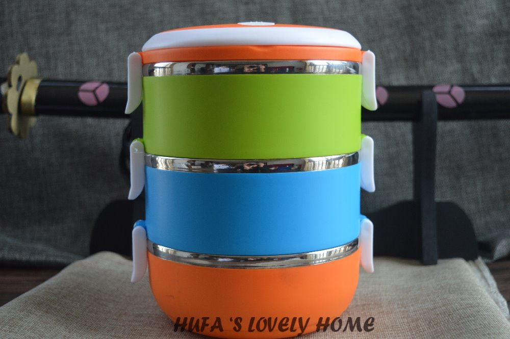HUFA Three layer 2 1L round Thermal Lunch Box Thermos For Food Stainless Steel Storage food