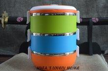 Hufa три слоя 2.1L круглый тепловой Ланч-бокс/термос для еды из нержавеющей стали для хранения пищевых контейнеров/наборы посуды