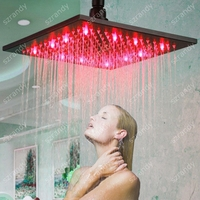 10 inch Single red color LED glass Square top shower head/square overhead shower/big rain shower head faucet