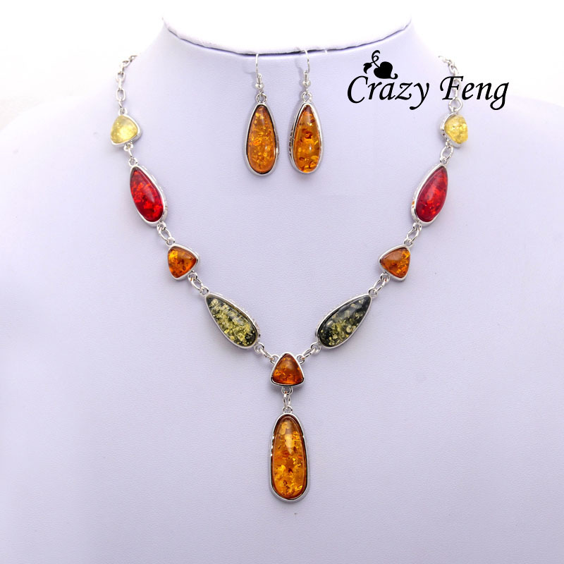 Free shipping Vintage Colorful Retro Silver-color African Wedding Jewelry Sets For Women Necklace&Pendants Dorp Earrings sets