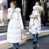 new 2018 two wear fashion big fur collar winter coat women long parka female thick warm down jacket women plus size slim parkas