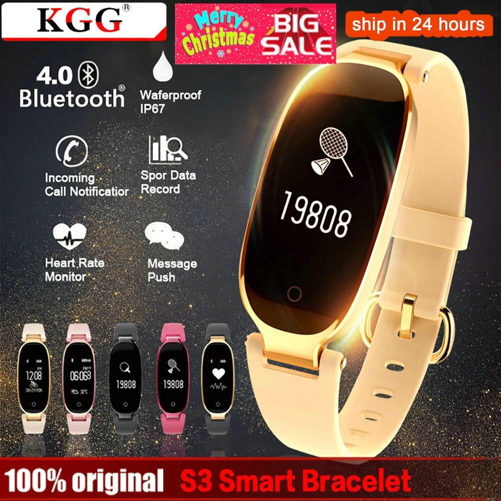 KGG S3 de moda banda inteligente pulsera para mujer, chica, Monitor de ritmo cardíaco pulsera dama mujer Fitness pulsera para Android IOS