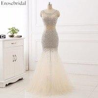 New Coming Heavy Beaded Prom Dresses Mermaid Tulle Scoop Evening Party Dress Vestidos De Fiesta Largos