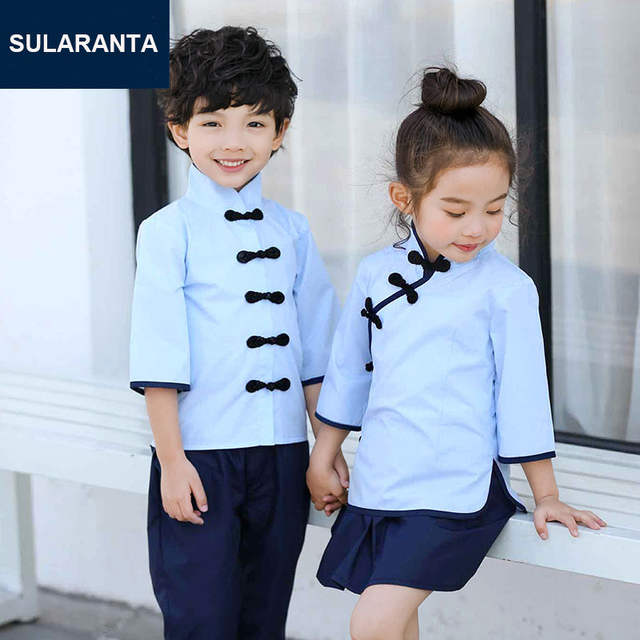 cda9ef26347 Kids Traditional Chinese hanfu Costume School Uniform for Girls Boys Blue  Shirt Tops Navy Skirt Pants Student Clothing Clothes-in School Uniforms  from ...