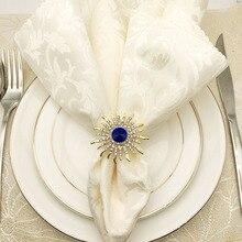 6PCS high-end hotel napkin buckle sun flower zinc alloy diamond ring Western circle cloth towel