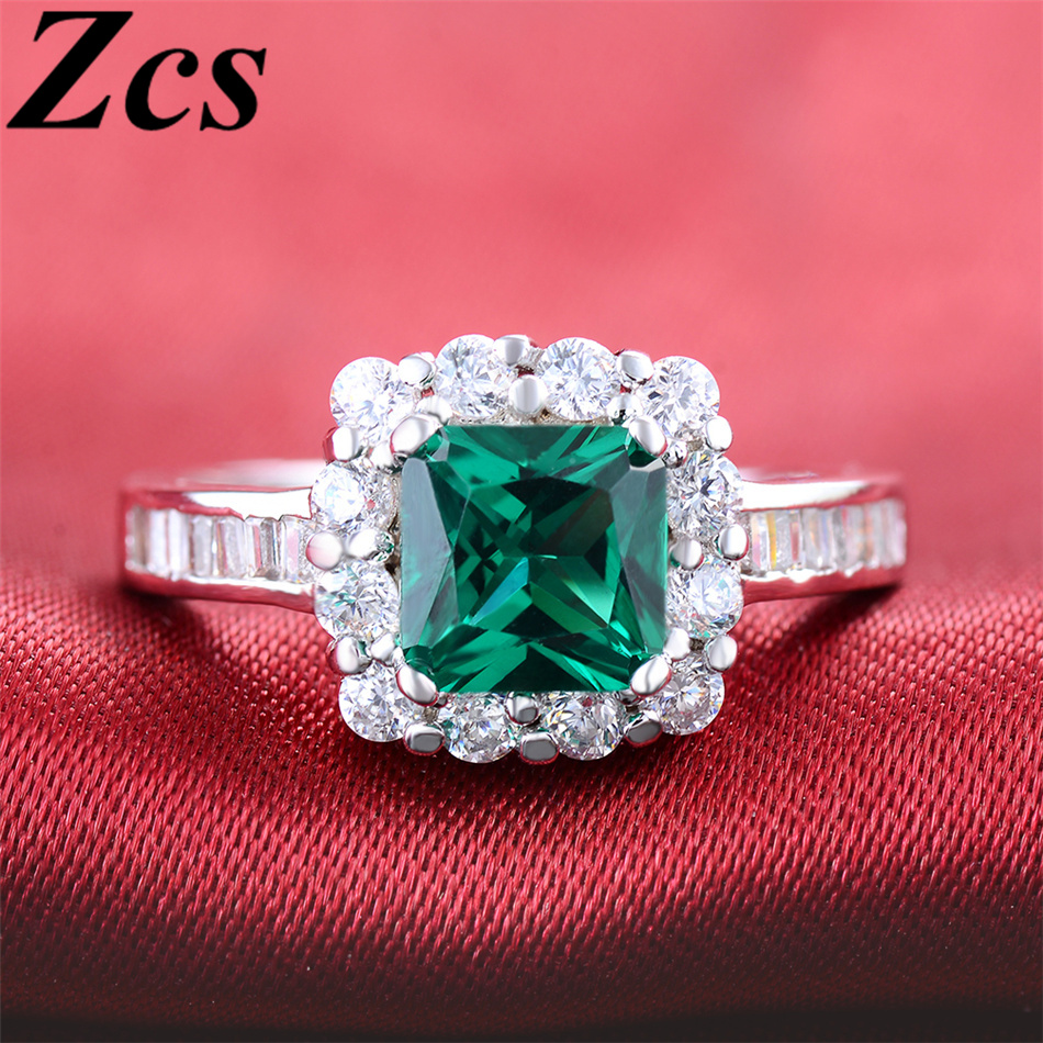 Zcs New Fashion Emerald Wedding Rings For Women S925 Sterling Silver ...