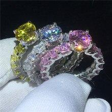 Anillo de la Corte Vintage de Plata de Ley 925 de 7mm AAAA Zircon cz, anillos de boda para mujeres, joyería nupcial para fiestas