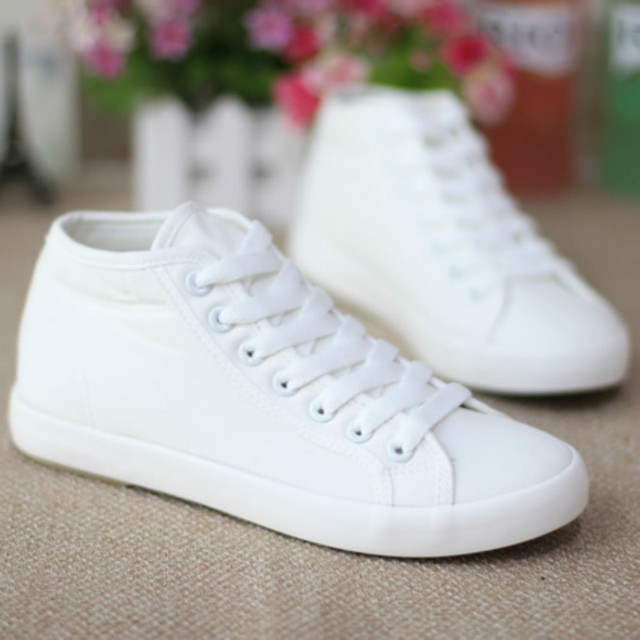 dc9160d4e5b1 2017 new women canvas shoes summer high cloth shoes girls students white  shoes casual shoes solid