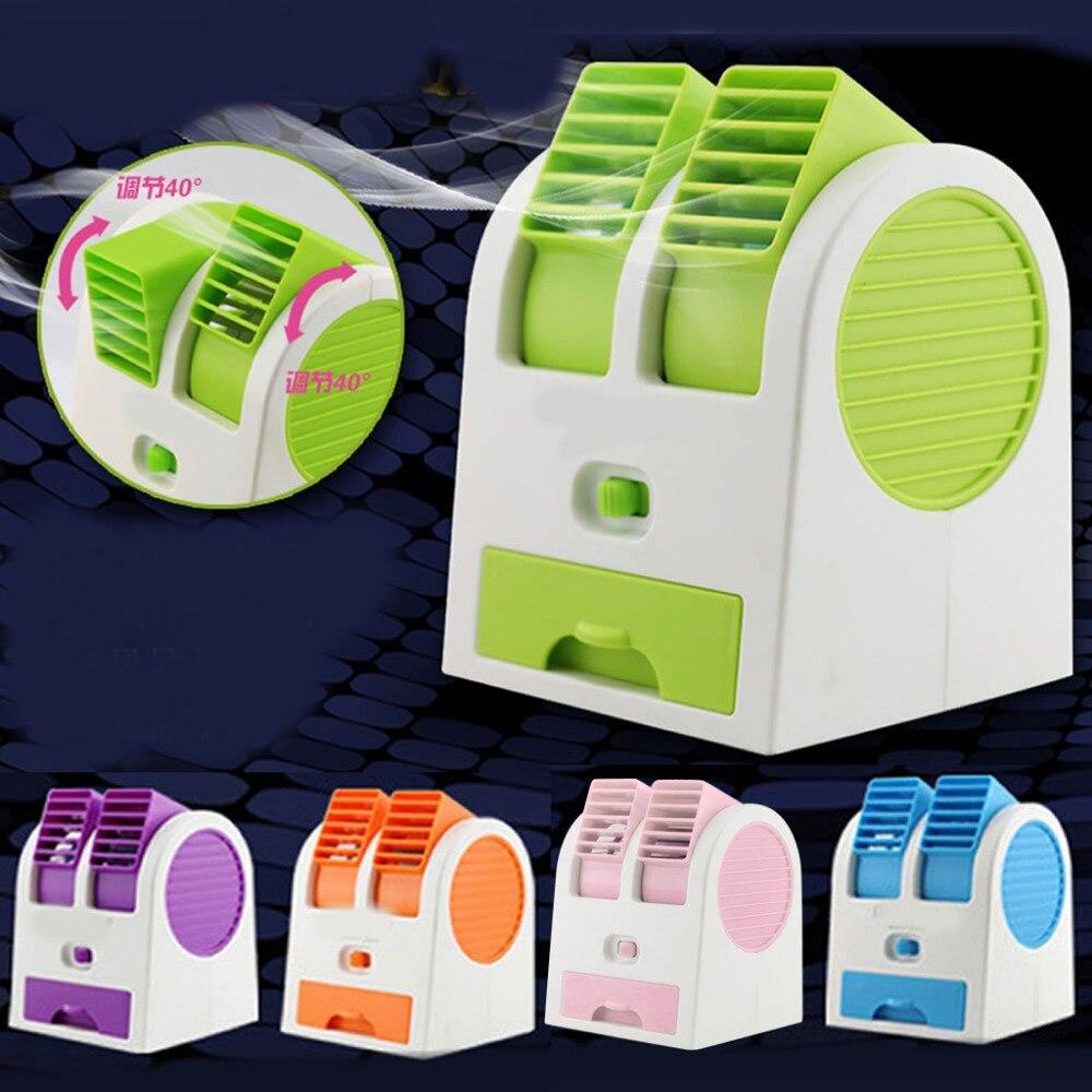 Mini ventilador de refrigeración portátil de escritorio Dual sin hoja para aire acondicionado USB # H029 #