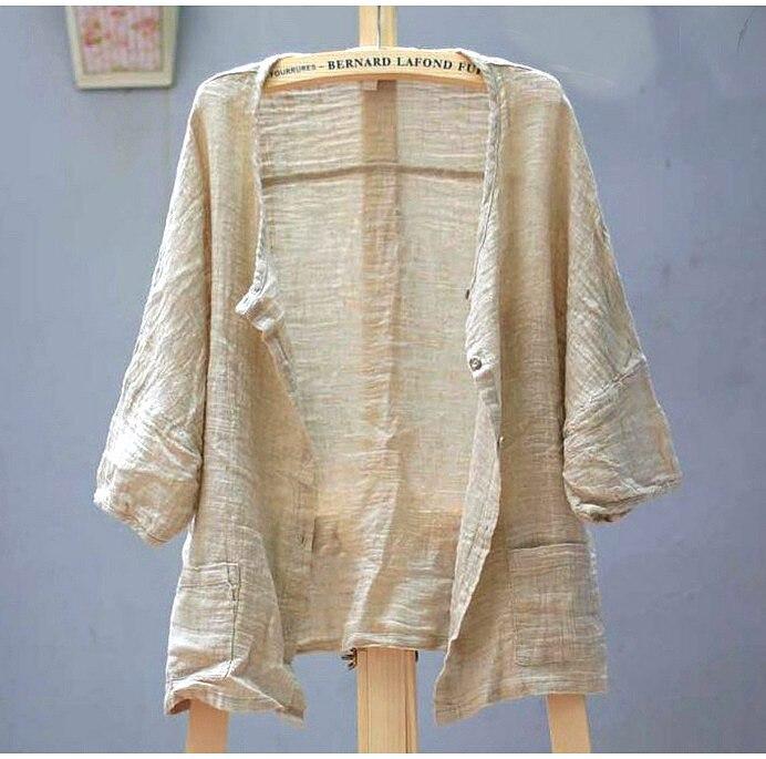 New spring and summer 2020 Women Linen Original Design Llarge Size Women's Shirt Female Blouse cardigan coat  16464 2