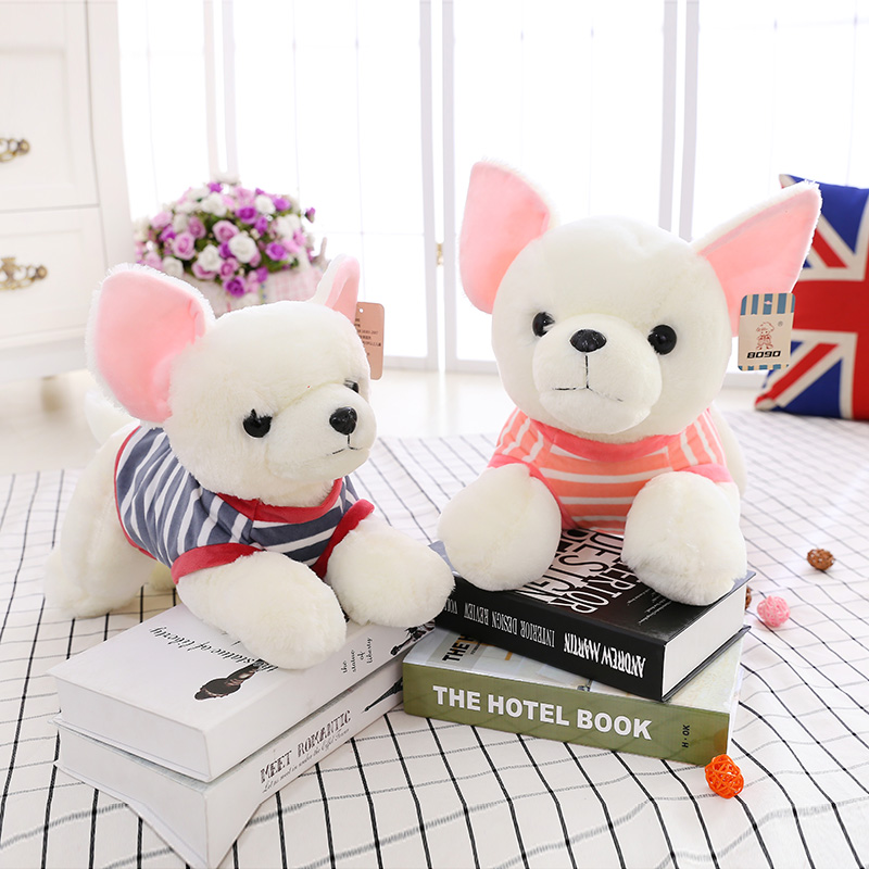 Candice guo plush toy stuffed doll little sweater papa chihuahua pet dog stripe T-shirt puppy baby birthday gift Christmas 1pc forward parma 2 0 2017