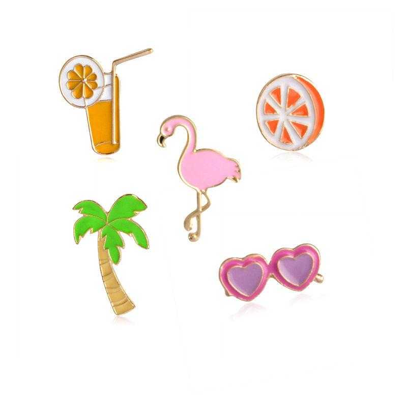 2017 Cute Orange Fruit Sunglass Flamingon Bird Coconut Tree Vocation Beach Brooch Pins,Fashion Jewelry Wholesale