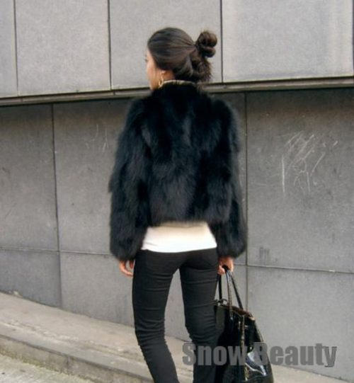 2018 real natural fox fur jacket for women lady's real fur coat black color short lady warm jacket low price warm female coat