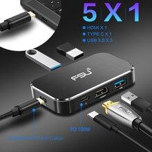 Thunderbolt 3 USB Hub USB c do hdmi 4k 60Hz typ c 3usb3. 0 PD 100W przejściówka do ładowarki 5 W 1 konwerter do macbooka pro PS4 Laptop