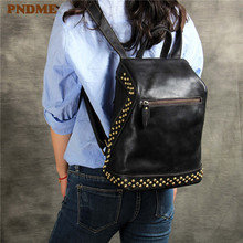 PNDME first layer cowhide ladies backpack casual simple handmade genuine leather rivets black womens back pack travel bookbags