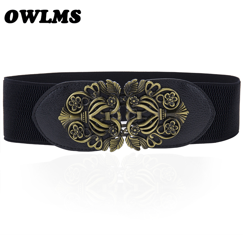 New Elastic Black Cummerbunds For Women Luxury Brand Designer Wide Belts For Costumes Jeans Belt Female Wedding Dress Waistband
