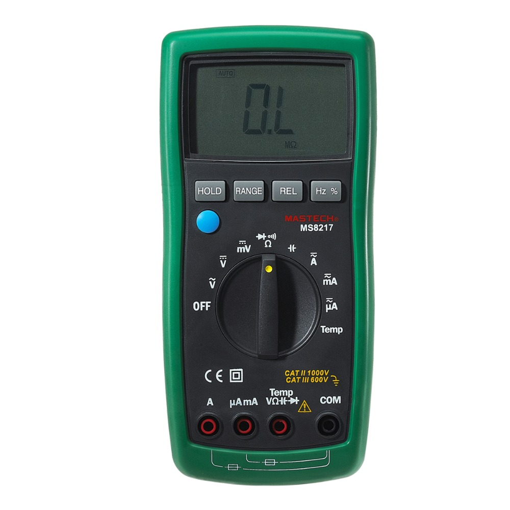 MASTECH MS8217 Digital Multimeter Meter AC/DC Voltage AC/DC Current Resistance Capacitance Tester with Temperature Measurement uxcell digital multimeter ac voltage current resistance capacitance frequency temperature tester meter 600mv 6v 60v 600v 1000v