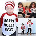 Осень весной новый lettler Счастливый Оклик Дней Дети Малышей дети одежда Мальчики Девочки Рождество С Длинным Рукавом Футболки Топы Одежда