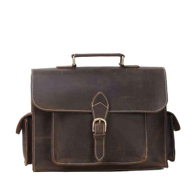 New Retro Classic Crazy Horse Genuine Leather Men Messenger Shoulder Bag Satchels Business Handbag 13 inch Notebook Laptop Bag joyir men briefcase real leather handbag crazy horse genuine leather male business retro messenger shoulder bag for men mandbag