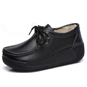 Image 3 - JZZDDOWN أحذية النساء جلد طبيعي مع الفراء أحذية امرأة منصة كعب عالية 5 سنتيمتر أحذية رياضية النساء منصة المتسكعون السيدات الأحذية