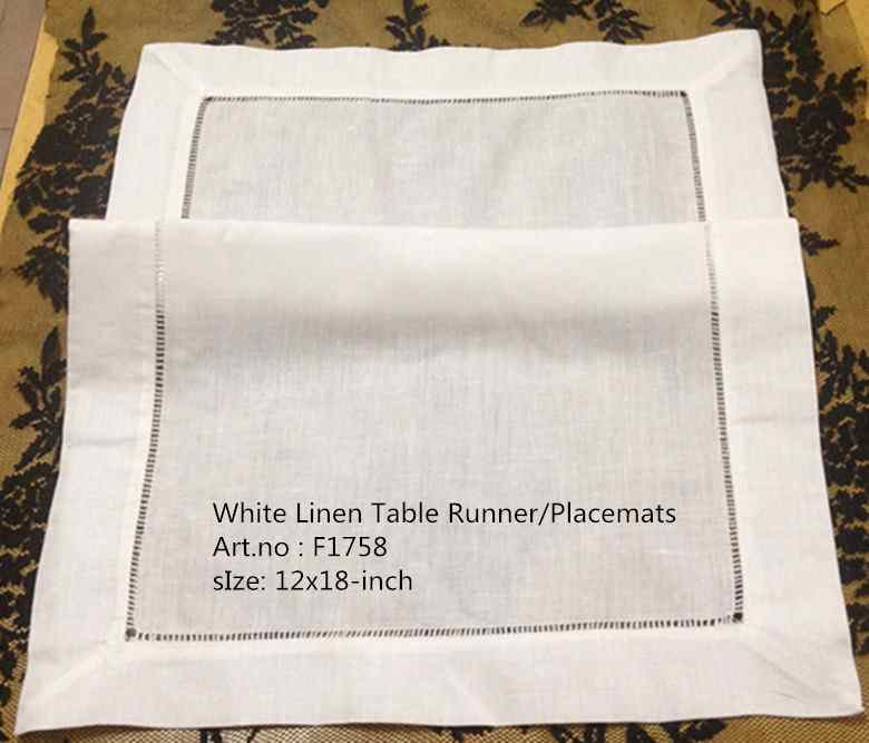 Set Of 12 Fashion Handkerchiefs Towel New White Hemstitch Linen Handkerchief Towel Table Cloth Table Runner/Placemats 12x18-inch