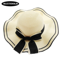 MATTYDOLIE Summer Hat Color Matching Bow Straw Outdoor Beach Sunscreen Sunshade Dome Wavy Side Wide Sun