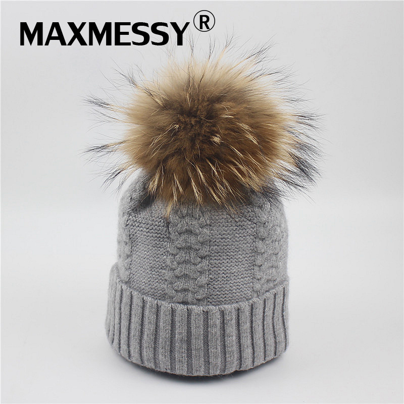 MAXMESSY Women Beanies Raccoon Fur Pom Poms Wool Hat Beanie Knitted Skullies Caps Ladies Knit Cap Winter Hats For Women MH086 2017 classic russian women super good quality wool beanies hats with real fur ball knit caps solid skullies casual cap