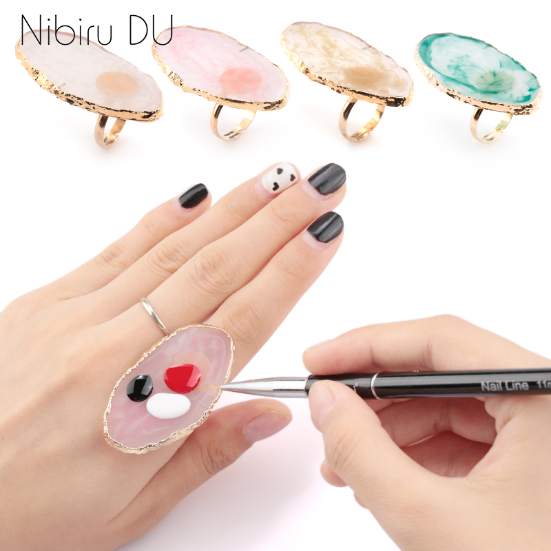1 Pc Resin Stone Color Nail Art Ring Palette Finger Ring Plate Acrylic UV Gel Polish Cream Foundation Mixing Nail Art Equipment