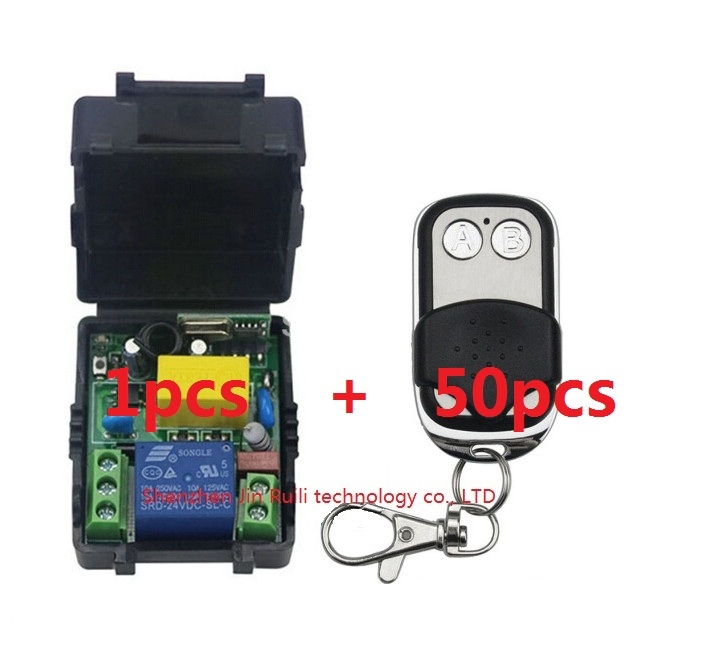 AC220V 1CH 10A Radio Controller RF Wireless Push Remote Control Switch 315/ 433MHZ teles witch 50pcs Transmitter+1pcs Receiver ac 85v 220v 110v 250v 1ch 10a radio controller rf wireless remote control switch transmitter 4 receivers for electric curtain