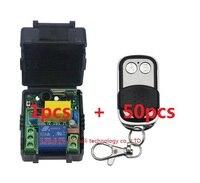 AC220V 1ch 10A Радио Управление Лер rf Беспроводной push Дистанционное управление переключатель 315/433 мГц телес ведьма 50 шт. передатчик + 1 шт. приемник