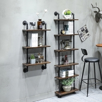 Industrial Rustic Urban 3/4 Inches Steel Pipe Wall Mounted Shelf Multi Layers Wood Board Shelving Home Restaurant Decor Storage