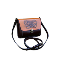 Hot Sale Genuine Natural Leather Women Single Shoulder Bag Black Brown Mini Female Casual Embossed Butterfly