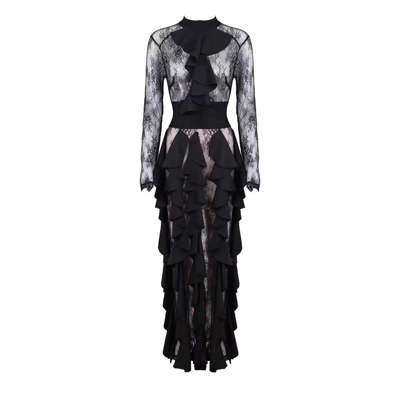 2018 Newest Fashion Black Women Jumpsuit Sumemr Elegant Long Sleeve Bodycon O Neck Chic Lace Night Out Party Jumpsuits Wholesale