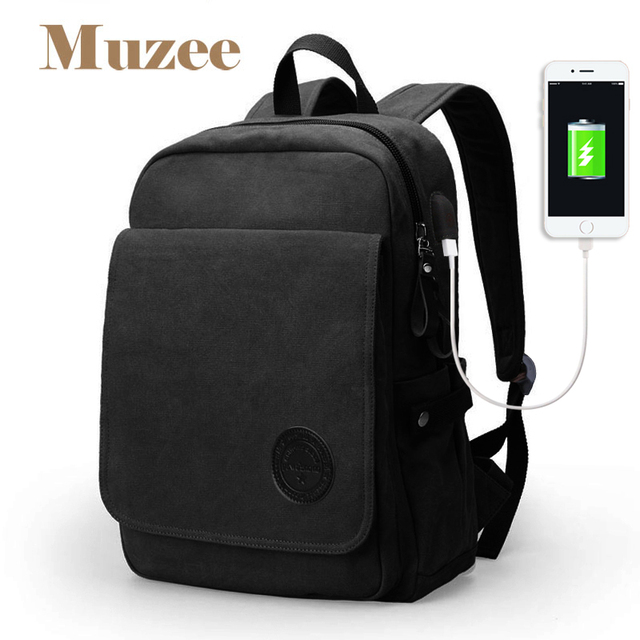 Muzee 2017 New Student 15.6 inch Laptop Backpack High Capacity backpack Fashion Casual Canvas backpack for teenagers mochila
