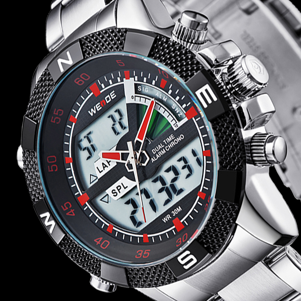Weide wd watches men wrist luxury 3atm water resistant pu leather chronograph watches.