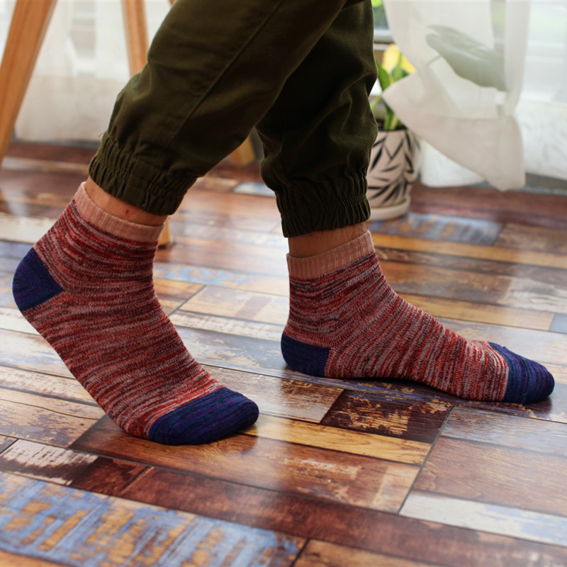 Free Shipping Retro Classic Thickening Women   Socks   Autumn Winter Cotton Patchwork   Sock   Men 5 Colors Tube   Sock   Students Hosiery