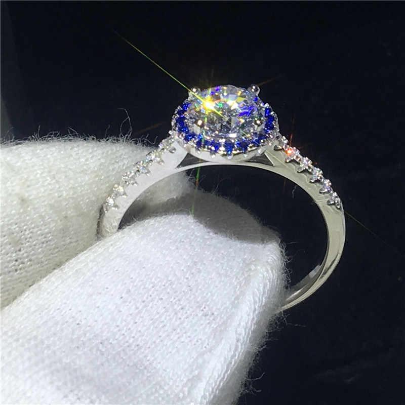 Choucong Hers 100% Настоящее однотонное 925 пробы Серебряное кольцо 1ct AAAAA Циркон Обручальное кольцо кольца для мужчин и женщин хорошее ювелирное изделие