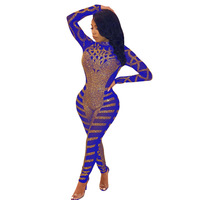 Plus Size Jumpsuits And Rompers For Women Bodysuit 2019 Female Sparkly Overalls Rhinestone Drills Turtleneck Sexy Body Suit