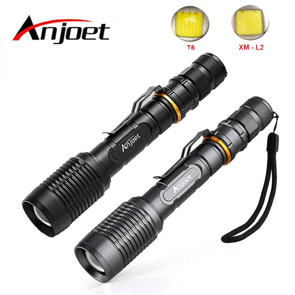 Anjoet Sets Super Bright Tactical Flashlight Portable XML T6 / L2 LED Zoomable Torch 18650 Battery 5 Mode Outdoor Hunting Camp