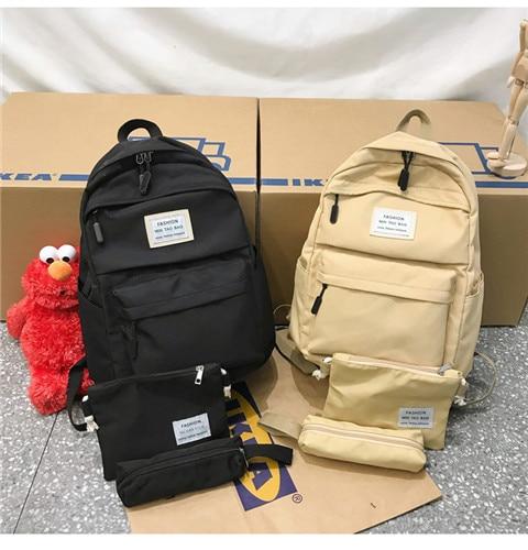 HTB1 TV4XKH2gK0jSZJnq6yT1FXaR Nylon Backpack Women Backpack Solid Color Travel Bag Large Shoulder Bag For Teenage Girl Student School Bag Bagpack Rucksack