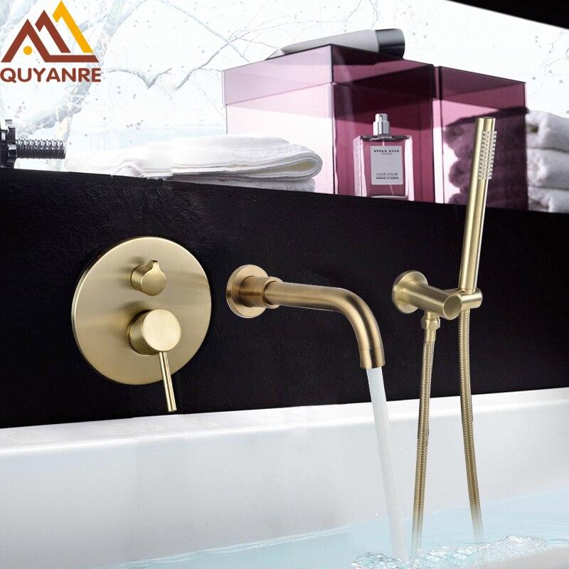 Quyanre Brushed Gold Bathtub Shower Faucet Wall Mount 360 Rotation Spout Shower Brass Handshower Bathroom Shower System Tap