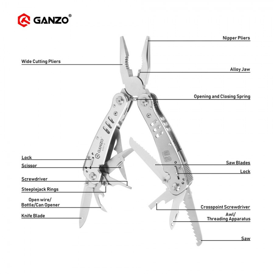 Ganzo G300 series G301 H Multi pliers 26 Tools in One Hand Tool Set Screwdriver Kit
