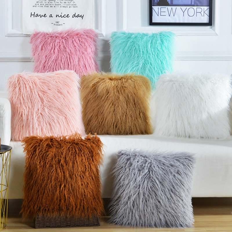 150g Soft Fur Warm Pink Blue White Brown Grey Decorative Pillow Cover Thick Long Plush Solid Color Cushion Cover Sofa Home Decor