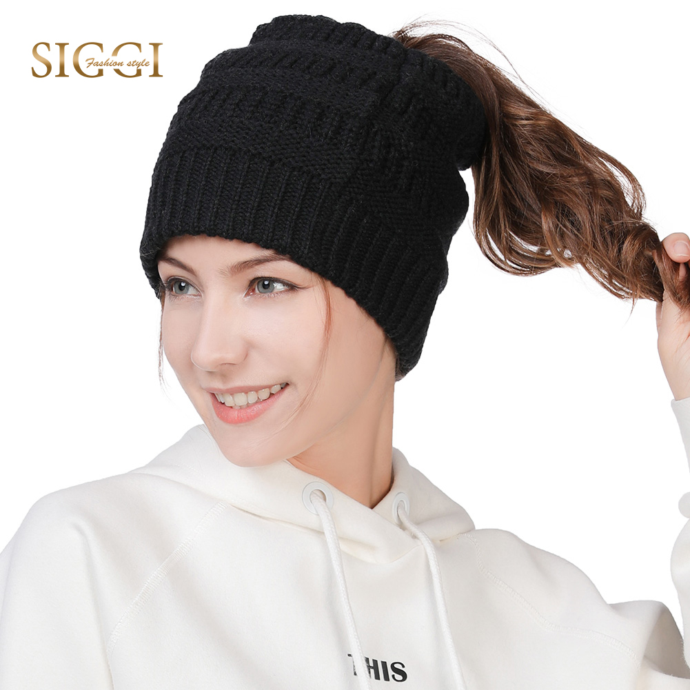 7e24bd86b29 Detail Feedback Questions about FANCET Winter Fashion Beanies Skullies Wool  Soft Fleece Concealed Ponytail Hole Knitted Hats For Women Youth Girls  Female ...