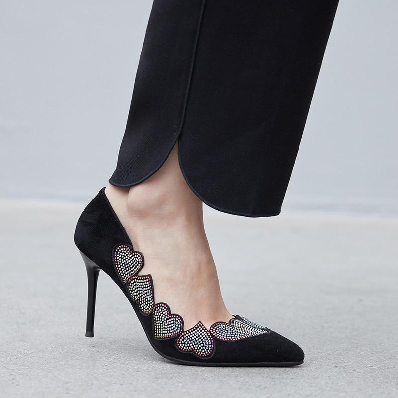 2019 Profonde Haute Talons Chaussures Dames Bout Forme Nouveau De Femmes D799 apricot Taille 40 Printemps Pointu Coeur Peu Bal En Noir 34 Cristal Automne Le qUrTwXU
