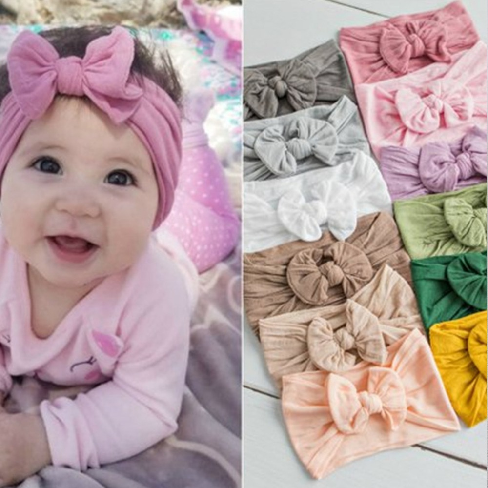 M MISM Fashion 23 Colors Big Bowknot Headband Baby Headbands Bow Hair Band Children Boy Girl Turban Head Wrap Hair Accessories(China)