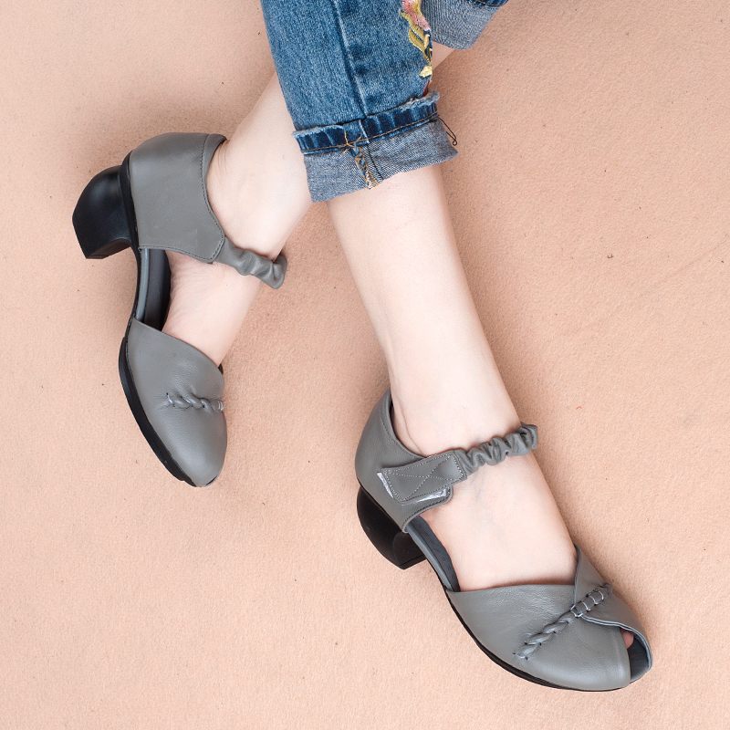 Abedake brand woman sandals 2018 new summer hollow leather fish mouth women shoes breathable comfortable non-slip woman sandals цены онлайн
