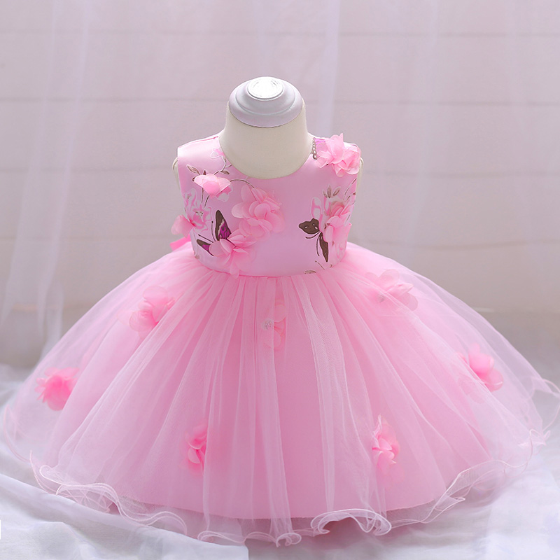 Retail Baby Girl Dress Wedding Gown Flower Dress Baby Girl Party Hand Stitched Floral Birthday