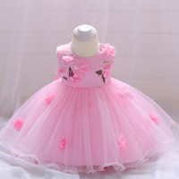 Retail Baby Girls Wedding Gown Dress Baby Girl Party Hand Stitched Flower Birthday Dress For 6