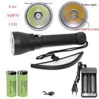 XHP70 XHP50 Diving Flashlight CREE LED 5000Lumens Yellow White Light Tactical Underwater 100M Waterproof Torch
